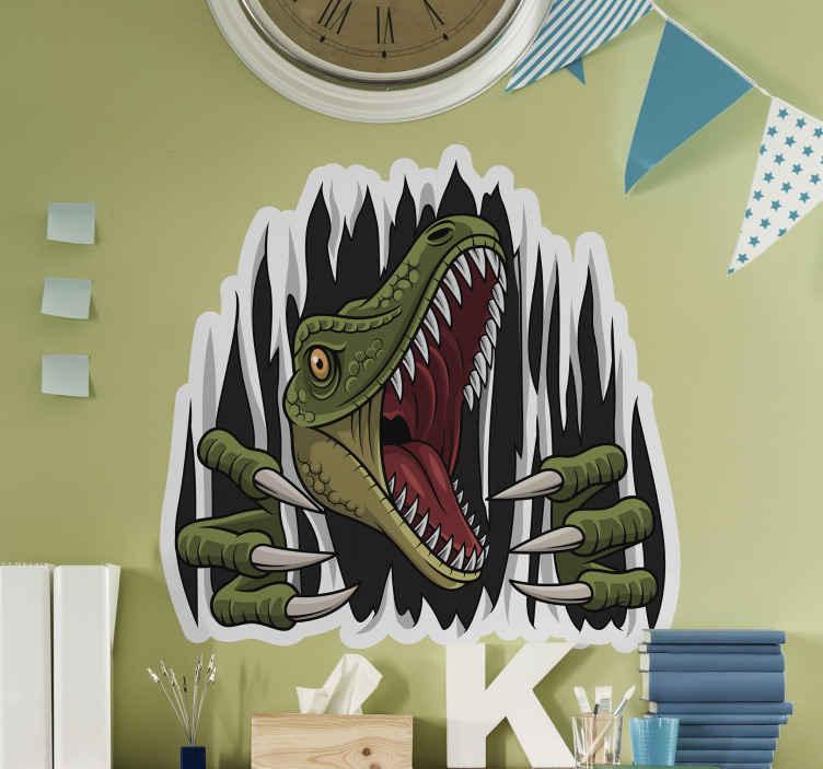 TENSTICKERS. 子恐竜トロンプルイユ壁デカール. あなたの子供の寝室を美しくする驚くべき恐竜の子供の壁のアートデカール。製品は簡単に適用でき、さまざまなサイズで利用できます。