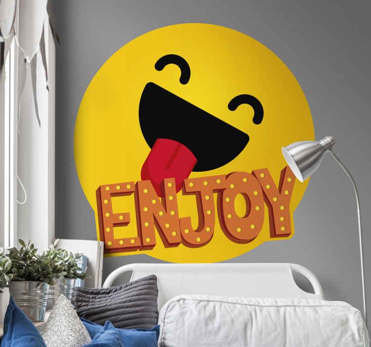 TENSTICKERS. テキストウォールデカールをお楽しみください. 幸せな絵文字アイコンとテキスト '' enjoy ''が付いた自己接着テキストウォールステッカーを購入してください。あなたのあらゆる瞬間を応援する装飾。