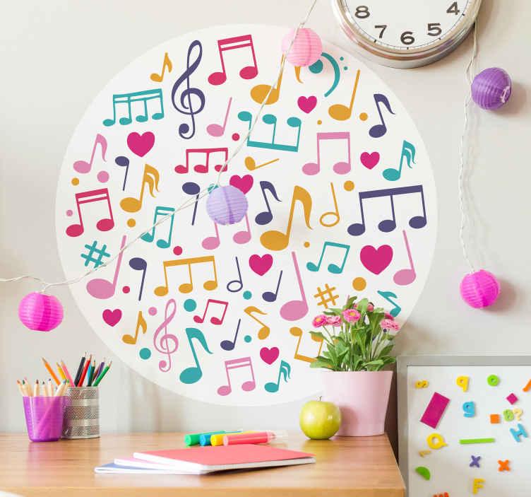 TENSTICKERS. 装飾的な音符ミュージカルデカール. 異なる色の音符のデザインの美しい音楽壁アートステッカー。それは高品質のビニールで作られ、適用が非常に簡単です。