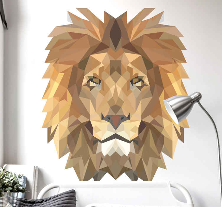 TENSTICKERS. 幾何学的なライオン動物野生動物ステッカー. あなたの家の装飾のためのライオンの装飾的な野生動物の壁ステッカーデザイン。このデザインは、幾何学的なポリゴンスタイルで作成されます。