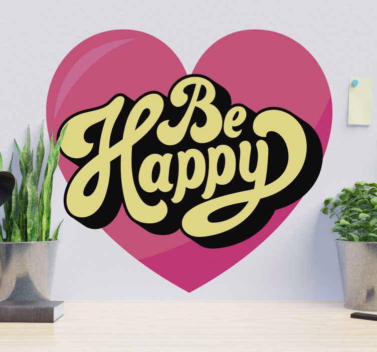 TENSTICKERS. 幸せな動機付けのデカールであります. 幸福であなたのスペースを美化する美しいモチベーションテキストデカール。ピンク色のハートの背景に「幸せになる」というテキストが刻まれています。
