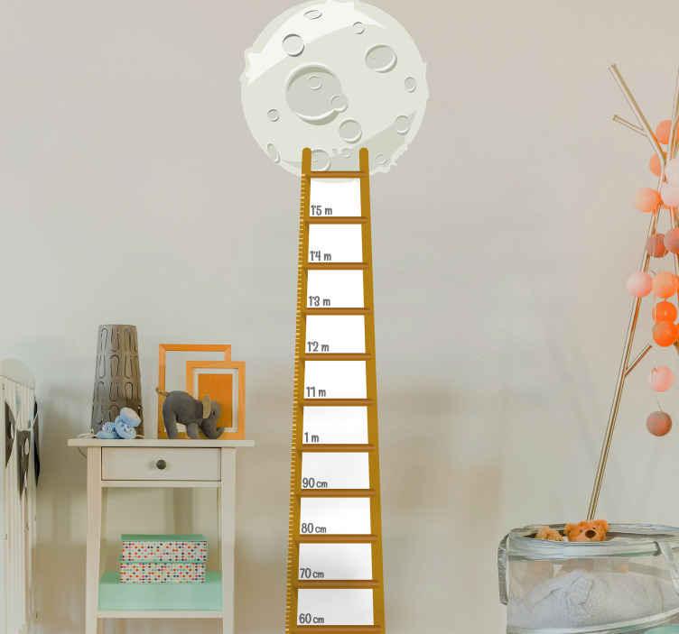 TENSTICKERS. 子供の月の階段ゲージ高さチャートウォールステッカー. 子供の部屋を飾る子供の月の階段ゲージの高さチャートデカール。製品は高品質で作られ、非常に簡単に適用できます。