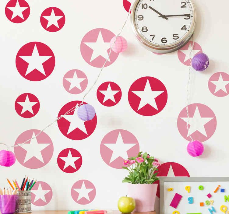 TENSTICKERS. 幾何学的な星のイラストの壁の芸術. 子供部屋の装飾のための美しい実例星の壁のステッカー。製品は高品質で、薄片の表面に簡単に適用できます。