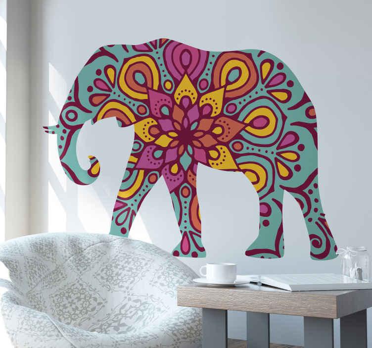 TENSTICKERS. 動物部族象野生動物ステッカー. 部族芸術色の象の抽象的な動物壁アートステッカーデザイン。自己粘着性のあるオリジナルビニール製品。