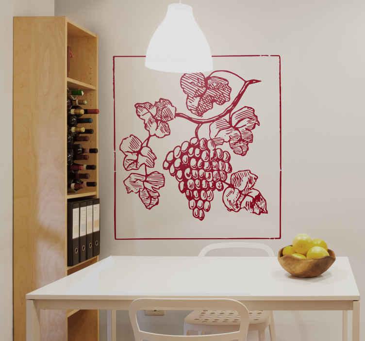 TenStickers. Naklejka dekoracyjna winogrona. Naklejka dekoracyjna przeznaczona do kuchni. Obrazek przedstawia kiść winogron rosnących na krzewie. Dzięki naszej naklejce stworzysz nowy wygląd w dowolnym pomieszczeniu.