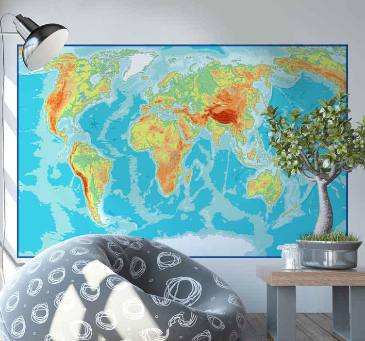 TENSTICKERS. 物理地図世界地図デカール. 色とりどりのテクスチャで正方形の背景にデザインされた素晴らしい装飾的なマップステッカー。適用が簡単で高品質です。