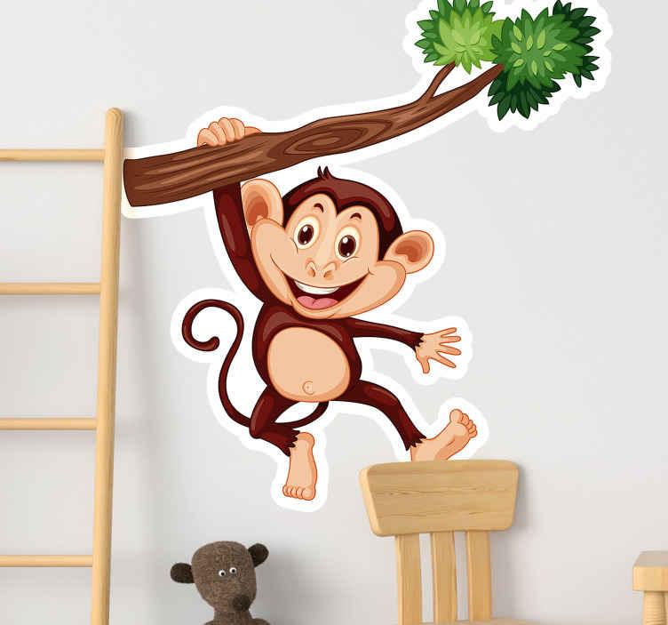 TENSTICKERS. モンキーブランチイラストウォールアート. 子供の寝室の装飾のための枝イラストステッカーの猿。このデザインは子供たちにとって楽しくて幸せな装飾です。