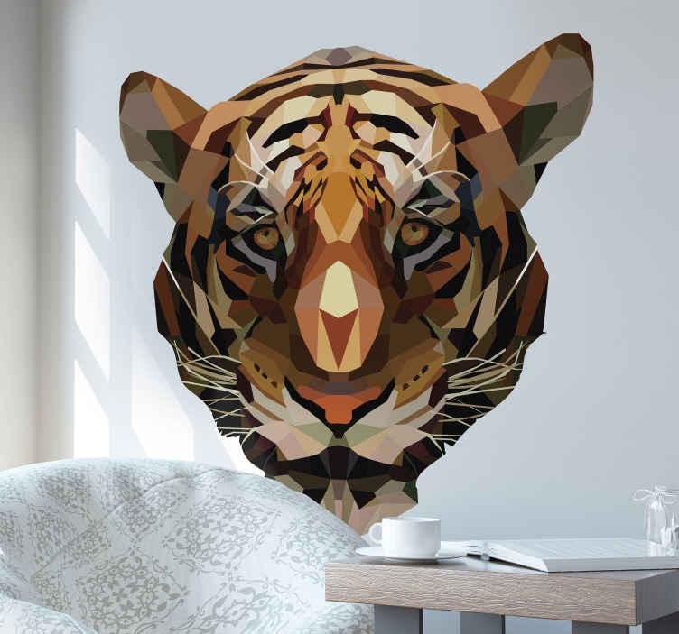 TENSTICKERS. 多角形の虎動物野生動物ステッカー. あなたの家の装飾のための虎の装飾的な野生動物の壁のステッカーデザインこのデザインは抽象的な多角形のスタイルで作成されます。