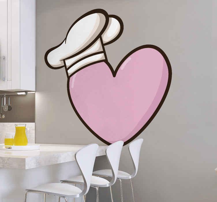 TENSTICKERS. クックラブウォールデカール. ハートの形をした料理の壁のアートステッカーデザインとサイズ別のシェフの帽子。あなたがどのように料理するのが好きかを伝える象徴的なキッチンデザイン。