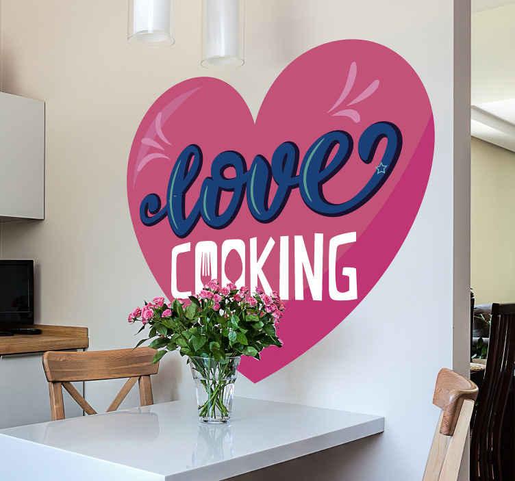 TENSTICKERS. 調理キッチンの壁のステッカーが大好き. ''愛の料理 ''の刻まれたテキストとハートのキッチンテキストビニールステッカーデザイン。適用が簡単で、高品質のビニール製です。