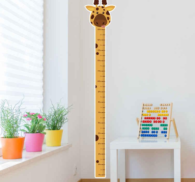 TENSTICKERS. キリンメーター高さチャートステッカー. 子供の寝室のための素晴らしい装飾的なアイデア。キリンは、適切な垂直校正を備えたメーターの高さを備えていました。適用が簡単で良質のビニール製。