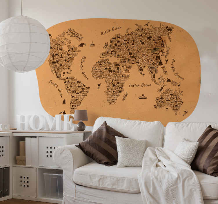 TENSTICKERS. 名前世界地図ステッカー. 素敵なビンテージテクスチャ背景で作成された装飾的な世界地図ステッカーデザイン。さまざまな大陸の名前とイラストが掲載されています