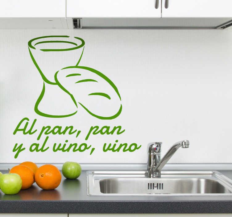 TenVinilo. Vinilo decorativo refrán al pan y al vino. Adhesivo decorativo de cocina con típica expresión española. Una manera muy original de decorar un rincón especial.