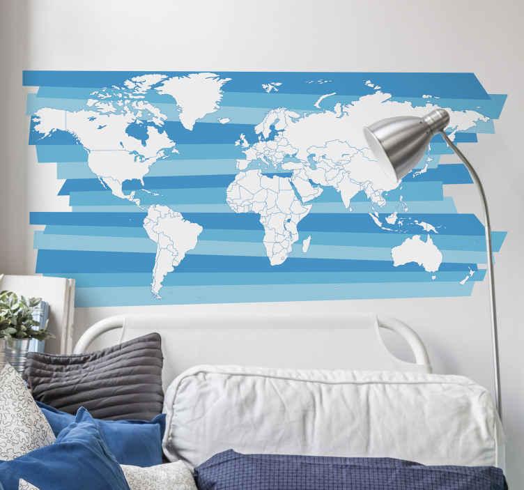 TENSTICKERS. 青いテクスチャ世界地図ステッカー. 素敵な青いテクスチャ背景で作成された装飾的な世界地図ステッカーデザイン。適用が簡単で、リビングルームやオフィススペースに適しています。