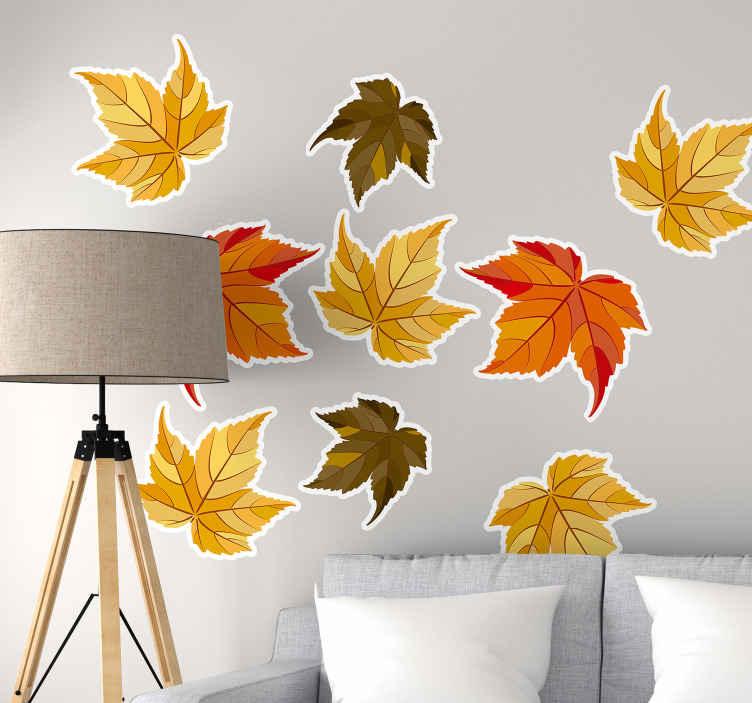 TENSTICKERS. 自然の葉秋の自然壁デカール. 秋の自然の葉の壁のステッカーは、あなたのスペースに秋の感触と落ち着いた雰囲気をもたらします。製品は高品質で適用が簡単です。