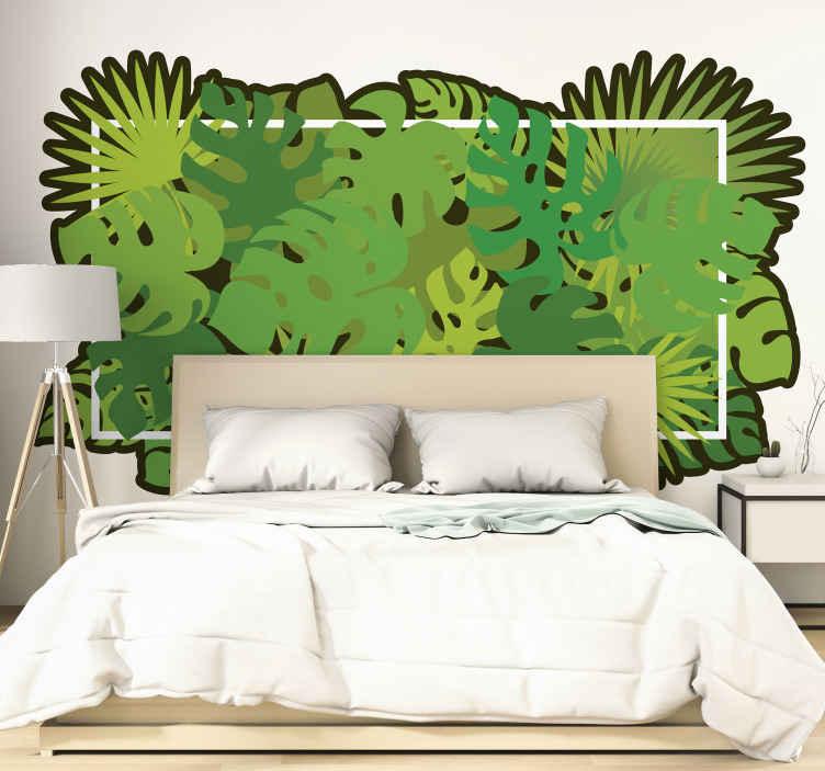 TENSTICKERS. 自然熱帯の葉ヘッドボード壁ステッカー. トロピカルリーフの驚くべきオリジナルの平和なウォールステッカーデザインで、トロピカルな雰囲気と雰囲気を空間にもたらします。