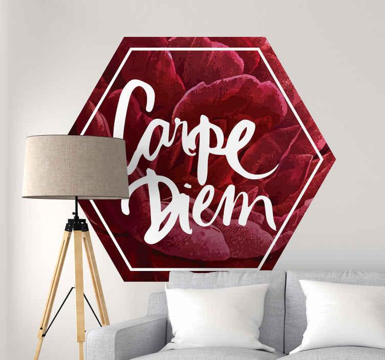 TENSTICKERS. 花のカルペディエムテキスト壁デカール. 装飾的な赤い花のテクスチャの六角形の背景デザイン、白い色の「カルペディエム」の碑文。適用が簡単で、どのサイズでも利用できます。