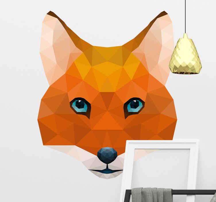 TENSTICKERS. 幾何学キツネ動物野生動物ステッカー. キツネの動物の壁のステッカーデザインは、あらゆるスペースに装飾的なタッチを与えます。デザインは幾何学的なテクスチャスタイルで作成され、平面に簡単に適用できます。