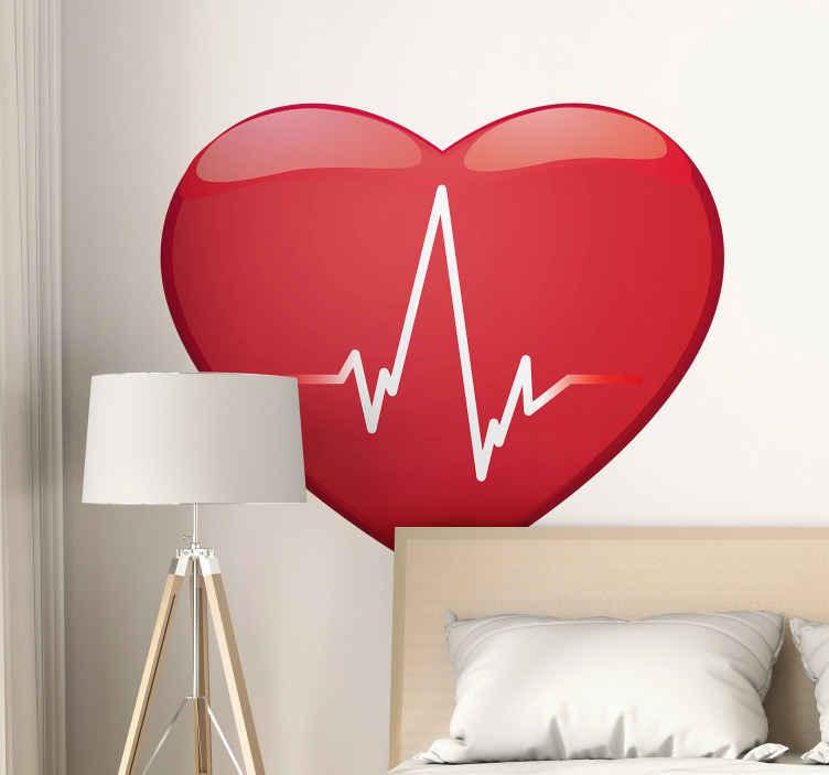 TENSTICKERS. 心臓波ヘッドボードウォールステッカー. 波のラインで赤い色で作られた壁アートステッカーデザインが大好きです。適用が簡単で、寝室のヘッドボードとして適しています。