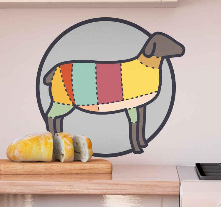 TENSTICKERS. 羊の食べ物ウォールステッカー. あなたのキッチンとレストランのビジネススペースの装飾のための私たちの創造的な羊壁ステッカーデザインであなたのキッチンスペースを活性化させます。