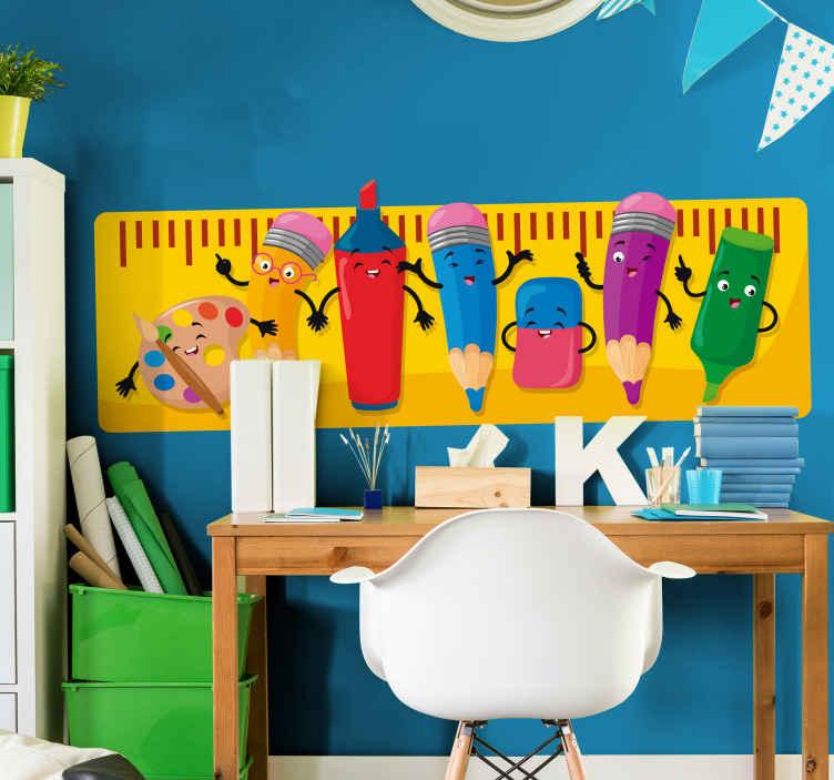 TENSTICKERS. 鉛筆の友達教育ステッカー. 象徴的なアニメーションスタイルでカラフルな鉛筆の幸せでファンキーな子供の寝室の装飾デザイン。適用が簡単で高品質。