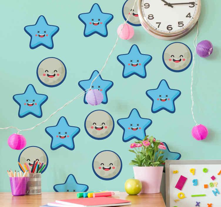 TENSTICKERS. 子供の青い星のスペースデカール. 子供の寝室のスペースのための装飾的な星の壁のステッカー。幸せなアイコニックなスマイリーフェイスが特徴のデザインは、子供のための興味深いスペースを作成します。