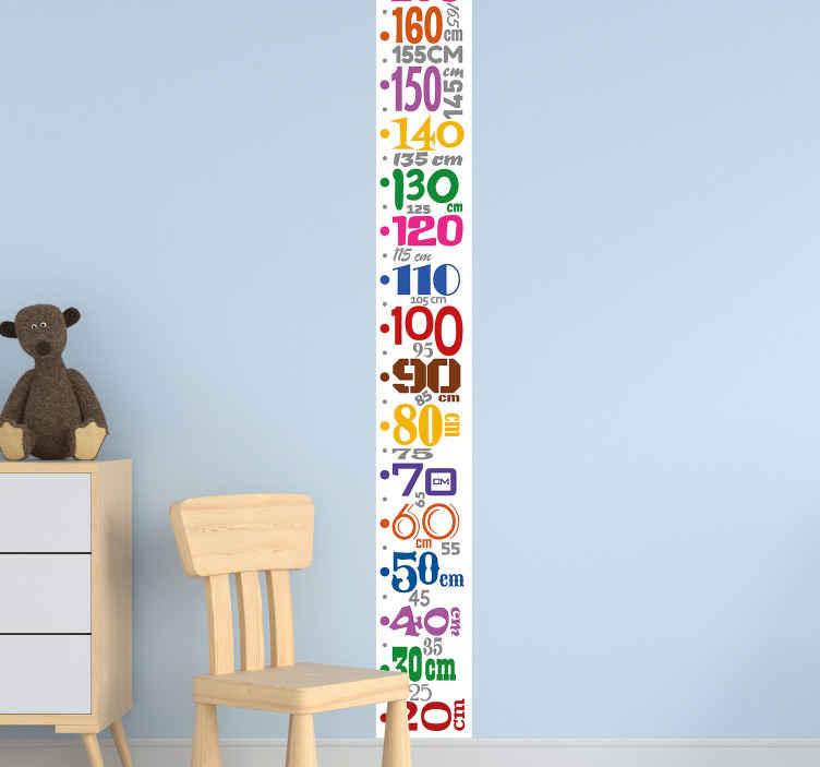 TENSTICKERS. 子供のメーター番号高さチャート壁デカール. カラフルな数メートル高さチャートデカール。メートル単位の垂直面に沿ってさまざまな数字を備えた素敵なデザイン。
