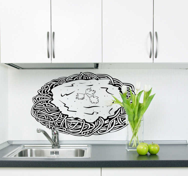 TenStickers. Spaghetti Decal. Wall Stickers - Decals - Illustration of a plate of spaghetti covered in sauce. Ideal for homes or businesses such as cafes and restaurants.