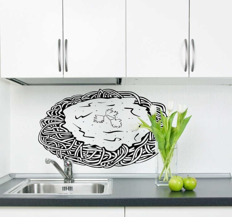 TenStickers. Spaghetti eten sticker. Sticker met een tekening van een bord vol met spaghetti slierten en een sausje eroverheen! Deze sticker is te beplakken op muren, kasten, ramen etc.