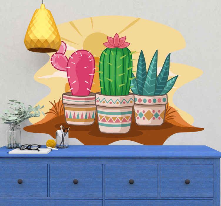 TENSTICKERS. サボテン砂漠の植物壁デカール. 装飾的なサボテンの植物の壁のステッカーは、素晴らしい特別な方法でスペースを拡張します。それは高品質のビニールで作られ、簡単に適用できます。