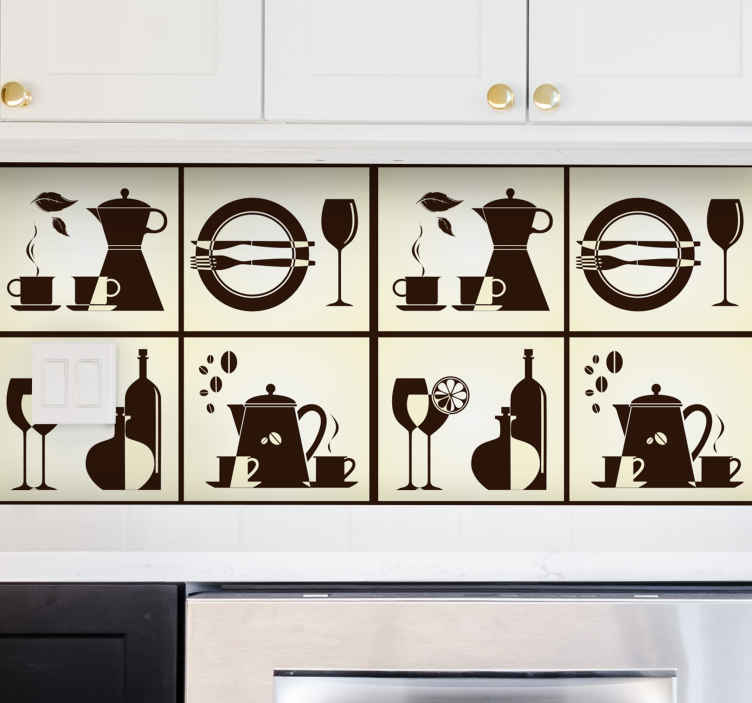 TenStickers. Keuken apparatuur muur sticker. Muursticker met 4 vakjes met verschillende keuken apparatuur en spullen! Je ziet verschillende dingen zoals een bord, mes, vork, thee en koffie.