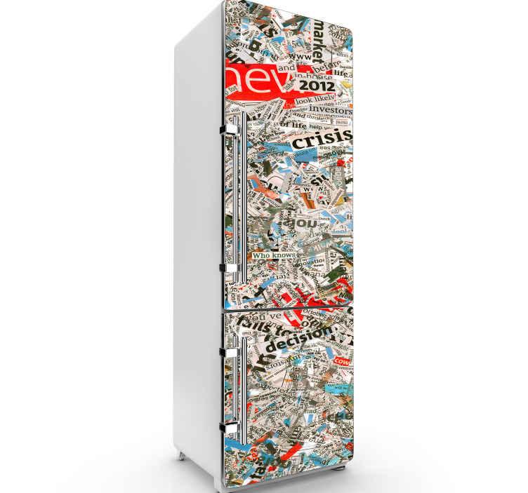 TENSTICKERS. 日記冷蔵庫ラップデカール. あなたの冷蔵庫スペースを飾るために雑誌や新聞テクスチャ装飾冷蔵庫ステッカー。適用が簡単で高品質です。