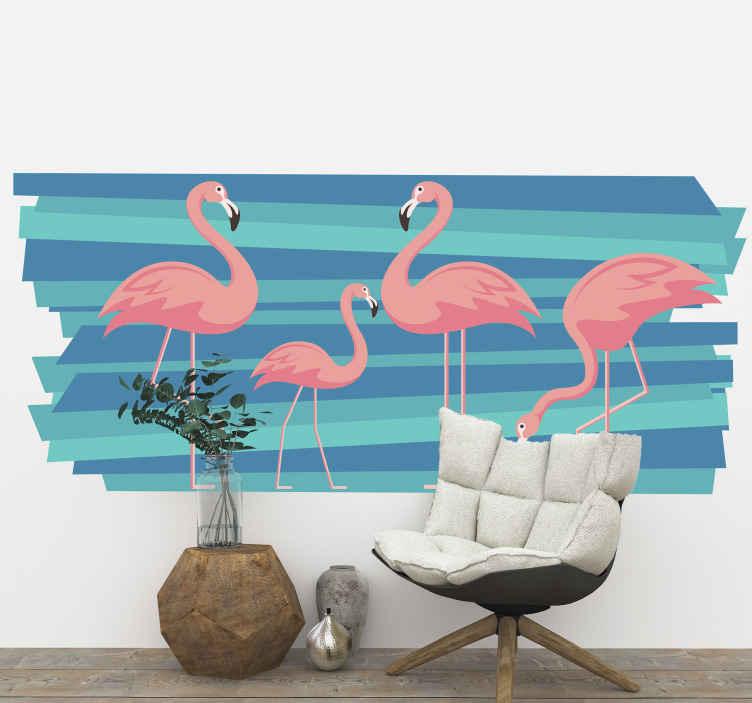 TENSTICKERS. フラミンゴ鳥デカール. カラフルなフラミンゴの鳥の壁のアートステッカーの美しさであなたの家のスペースを飾ります。デザインは高品質のビニールで作られ、簡単に適用できます。