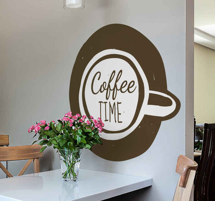 TENSTICKERS. コーヒードリンクウォールステッカー. 特別な方法であなたの台所スペースを飾るために美しいコーヒー飲み物の壁のステッカー。それは、テキスト「コーヒータイム」のコーヒーカップのデザインを持っています。