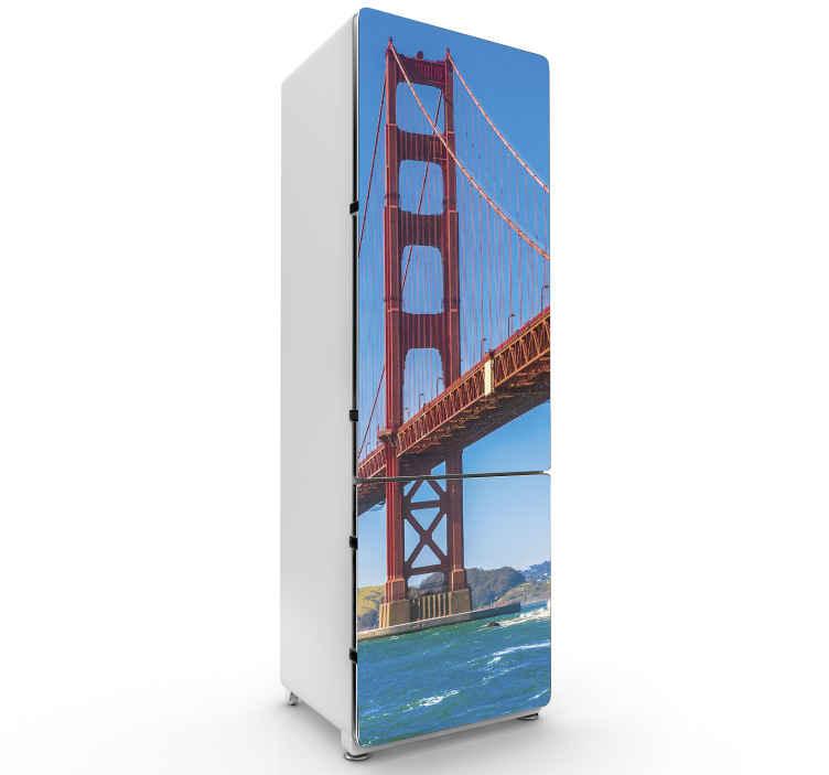 TENSTICKERS. ゴールデンステート冷蔵庫ラップデカール. 特別な方法で冷蔵庫のドアスペースを美しくする美しい装飾的なゴールデンステート冷蔵庫ステッカー。粘着性があり、品質が良い。