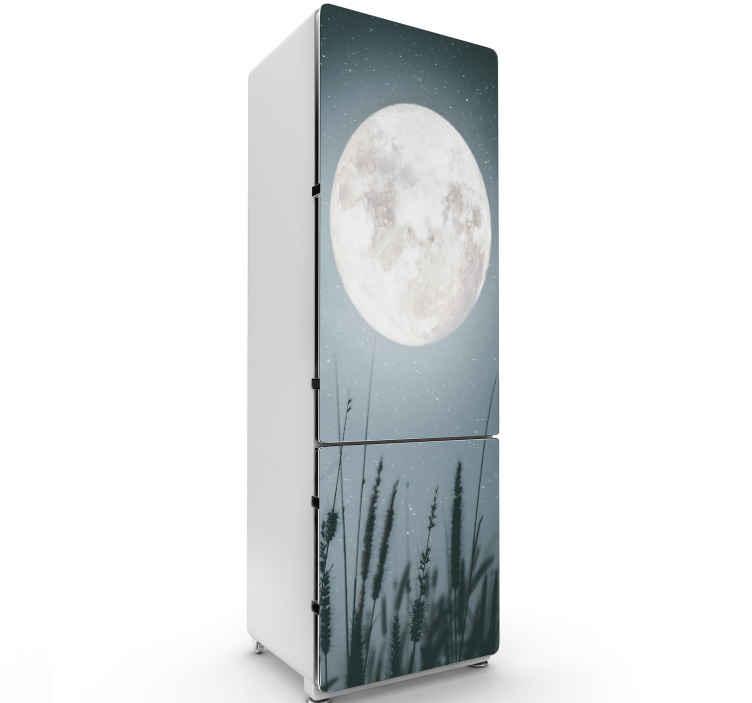 TENSTICKERS. ルナ冷蔵庫ラップデカール. 宇宙の月のデザインと装飾的な冷蔵庫のドアのステッカー。製品は適用が簡単で、高品質のビニール製です。