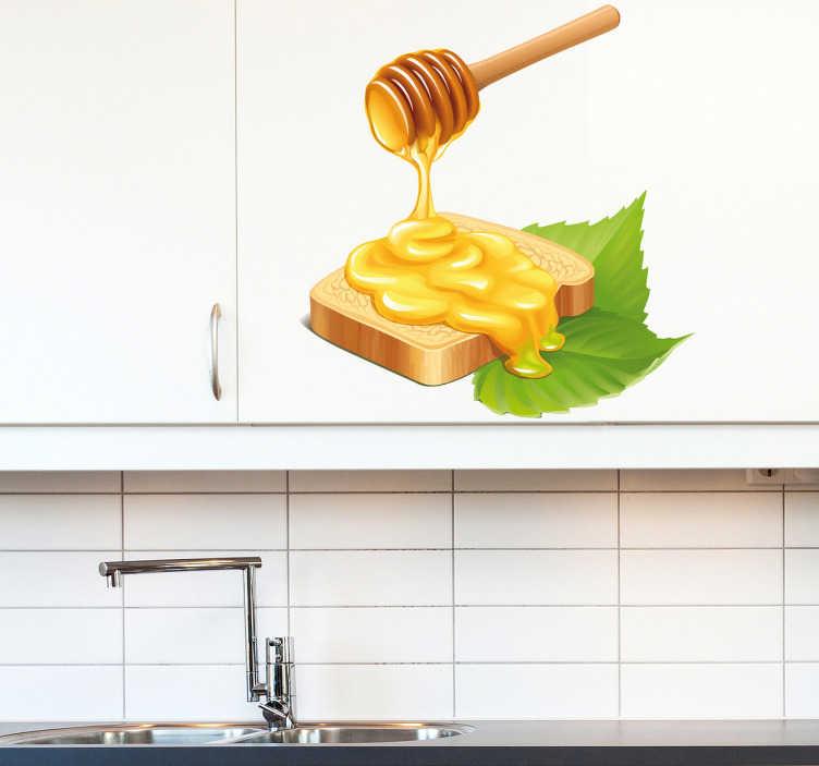 TenStickers. Sticker decorativo pane e miele. Adesivo decorativo con una invitante raffigurazione di una fetta di pane con miele. Ideale per iniziare la giornata con una buona carica di energia.