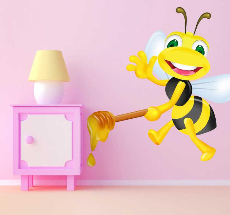 TenVinilo. Vinilo infantil abeja miel. Divertido Adhesivo infantil de una juguetona avispa sonriendo y llevando miel para los más glotones. Una original manera de decorar tu pared.