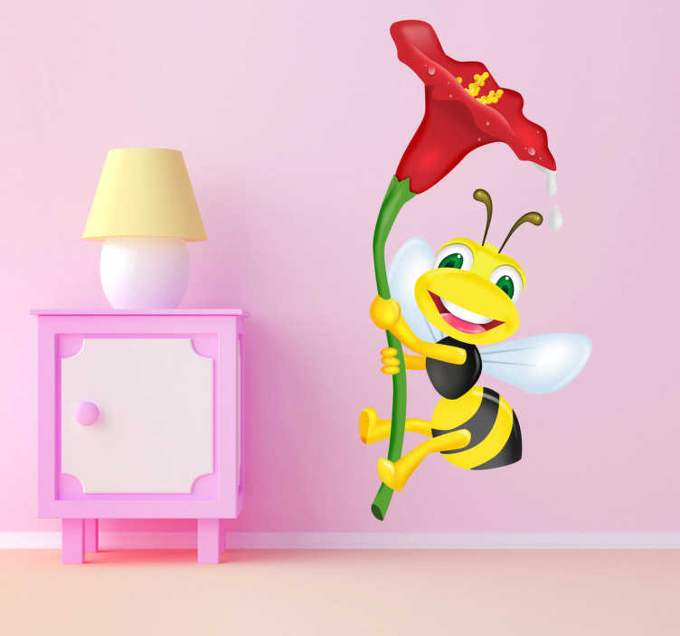TenStickers. Flower Bumble Bee Wall Sticker. Cartoon wall sticker of a bumble bee hanging onto a beautiful flower. A superb flower sticker to decorate your children's bedroom.