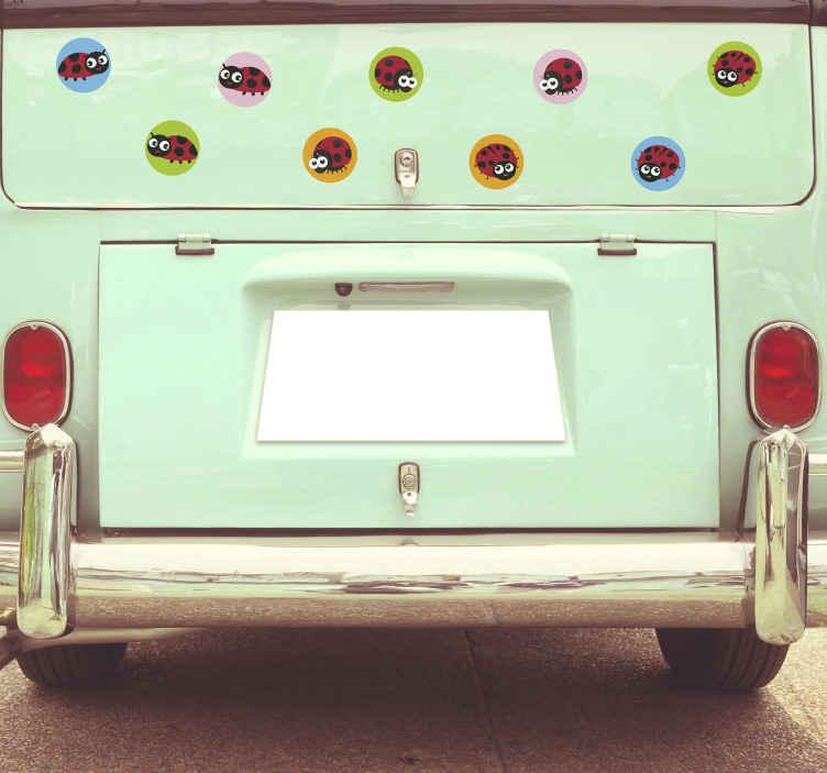 TENSTICKERS. てんとう虫車デカール. 異なる背景色のプリントで装飾的なてんとう虫昆虫車ステッカー。良質の素材で簡単に貼れます。