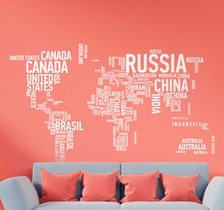 TENSTICKERS. 世界地図テキストステッカー. モダン&コンテンポラリー。世界地図タイポグラフィック壁デカール。世界とその大陸の形を形作るテキストによるビニルウォールアート。