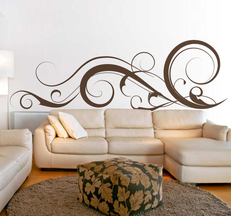 TenStickers. Curvy Strokes 4 Wall Sticker. Room Stickers - elegant curvy line strokes.  Ideal original and simple decals for decorating or styling your home or business.