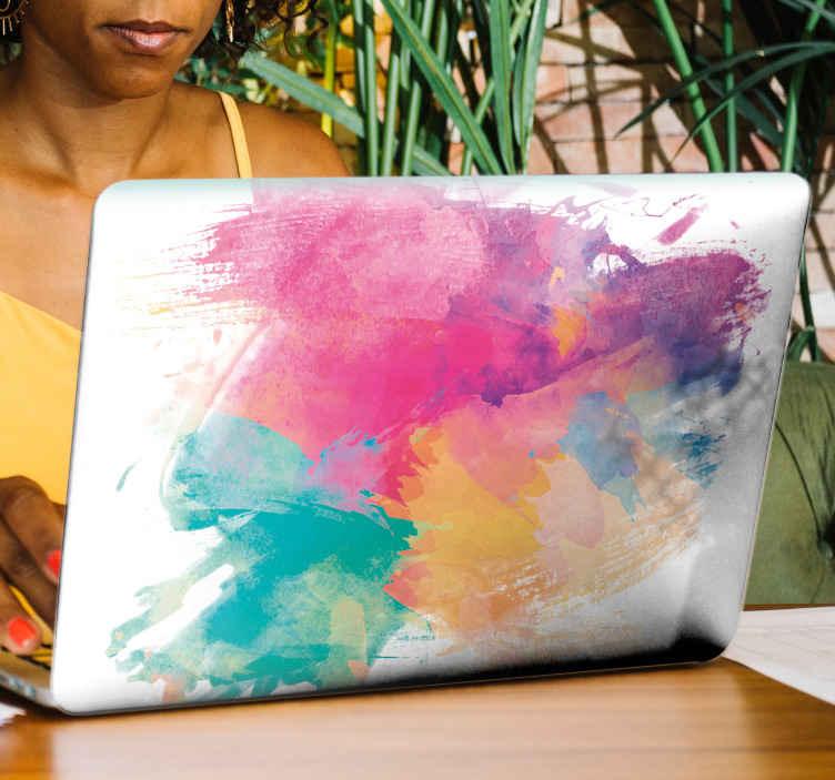 TenStickers. Notebook Aufkleber Aquarellhefte. Ein abstraktes farbiges laptop-vinyl-abziehbild, um den Raum jedes laptop-geräts in farbenfrohem stil zu verschönern. Das Produkt ist einfach anzuwenden und von hoher Qualität.