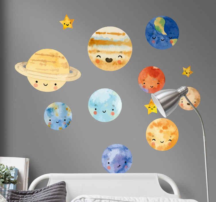 TENSTICKERS. 子供たちの惑星太陽系宇宙壁デカール. 楽しくて幸せなスマイリーフェイスでデザインされた子供のための幸せで面白い装飾的なソーラースペースのテーマウォールステッカー。適用は簡単です。