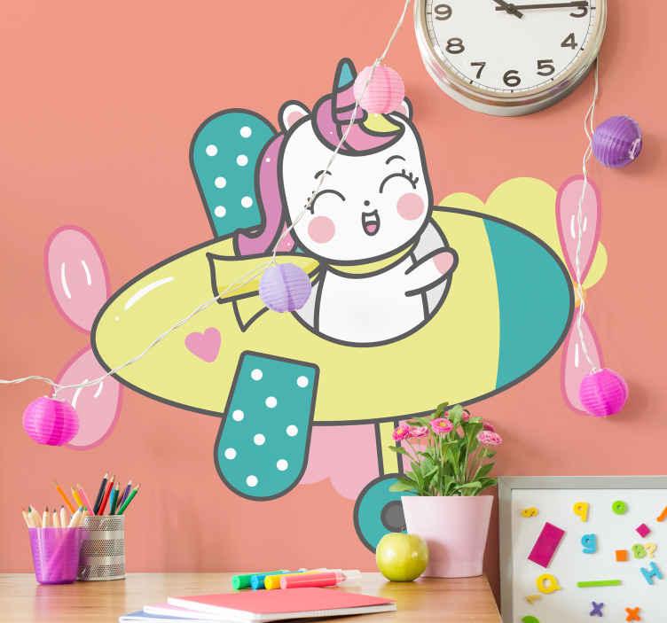 TENSTICKERS. 子供ユニコーン飛行機イラスト壁アートデカール. 楽しくて面白い赤ちゃんユニコーンウォールアートステッカー。家の中で小さなお子様の寝室スペースを美しくします。必要なサイズで利用できます。