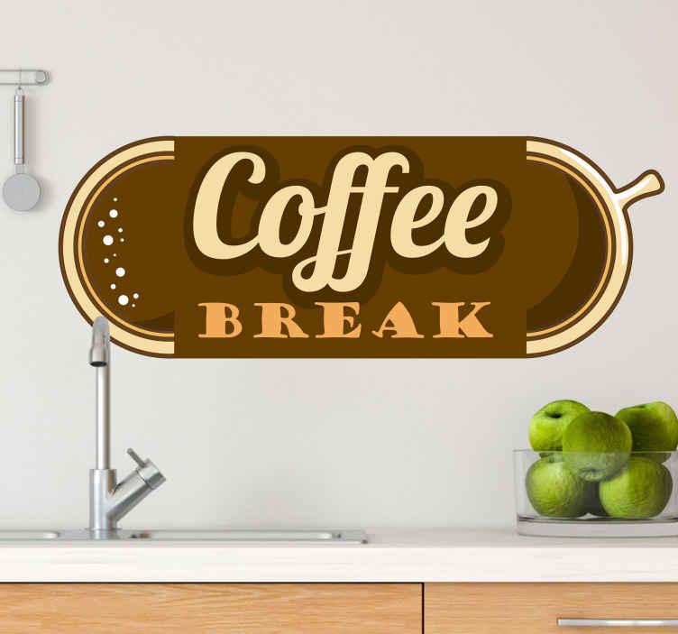 TENSTICKERS. コーヒーブレークドリンクウォールステッカー. キッチンスペースの料理テーマの壁アート装飾。デザインは茶色の背景に「コーヒーブレイク」のテキストです。適用は簡単です。
