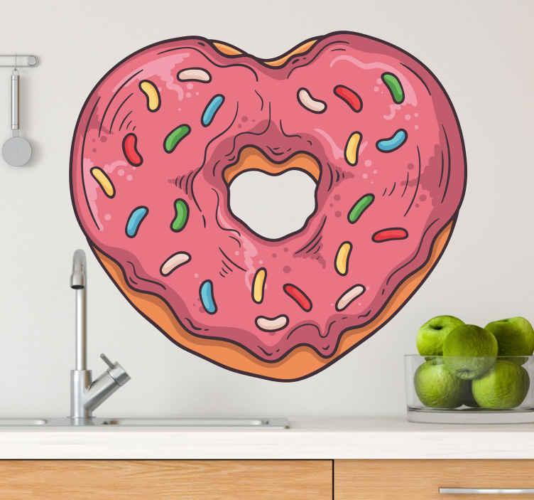 TENSTICKERS. ドーナツハートフード壁デカール. キッチンの装飾のためのハート形のドーナツの装飾的な食品壁アートデカールデザイン。適用が簡単で高品質です。