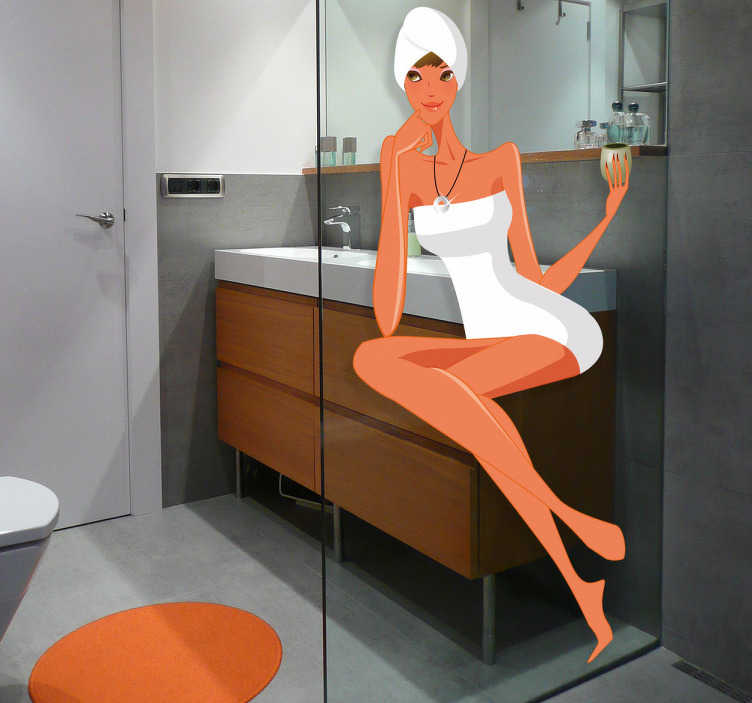 TenVinilo. Vinilo decorativo mujer SPA. Ilustración de una sexy mujer envuelta en toallas. Adhesivo perfecto para darle un toque original y de color a tu servicio.