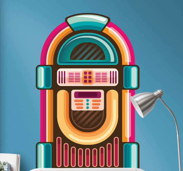 TENSTICKERS. 装飾的なジュークボックスの未来のポップミュージック壁stikcer. 素晴らしい色の外観で作られたジュークボックスの音楽壁アートステッカーデザイン。それは子供の寝室スペースとティーンエイジャーに適しています。
