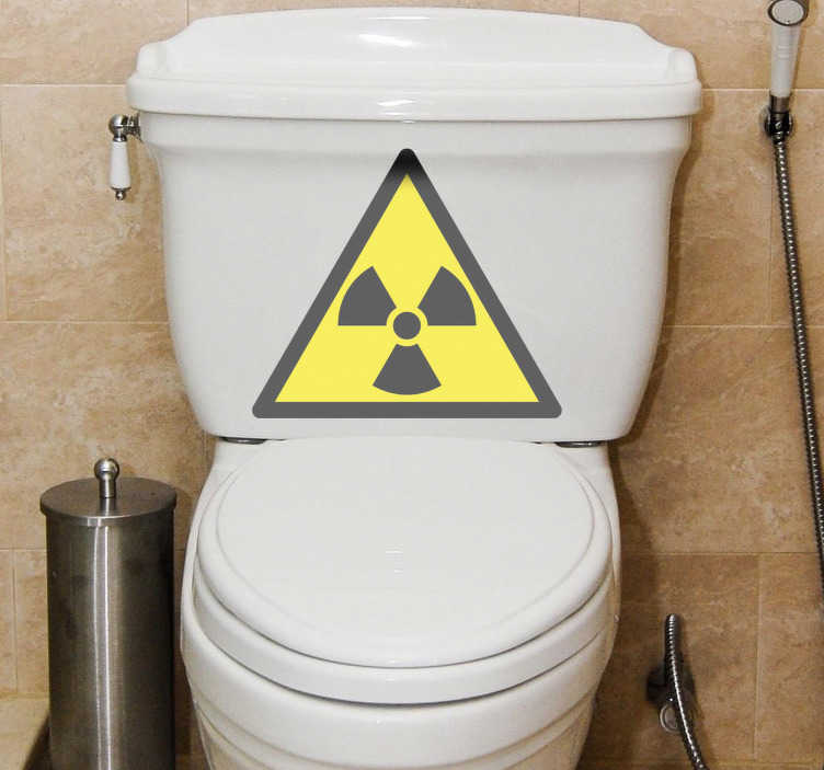 TenStickers. Radioactive Sign Toilet Sticker. Bathroom Stickers - Radioactive sign illustration for the toilet. Amusing and playful design for your toilet.